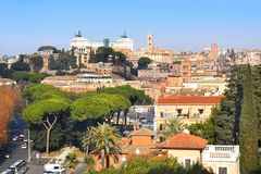View of the of Rome from the height of the Aventine Hill. View of the historical center of Rome from the height of the Aventine Hill, is one of the best royalty free stock photo