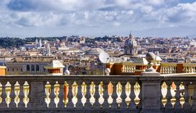 Marble balustrade in Rome. View of rome through a marble balustrade  from the Janiculum Hill Il Gianicolo Stock Image