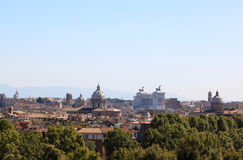 View at Rome from the Passeggiata di Gianicolo, Italy. View at Rome from the Passeggiata di Gianicolo. From left to right the largest Catholic Marian church Stock Images