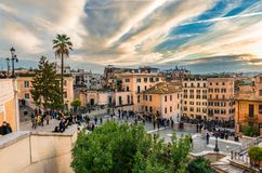 View of Rome from Piazza Trinità dei Monti. stock photo