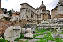 View of Rome with ruins, Italy. stock image