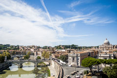 View of Rome and of Saint Peter Basilica, Italy Stock Images