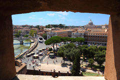 View of Rome from Sant' Angelo Castel Stock Photos