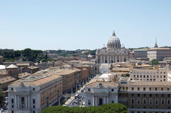 View of the Rome and St. Peter basilica from Caste Royalty Free Stock Photo