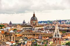 View on Rome and the St Peter`s Basilica from Villa Borghese stock image