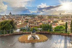 View on Rome from Terrazza Viale del Belvedere. Italy royalty free stock image
