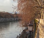 View of Rome, the Tiber and Saint Peter's cupola in red autumn Stock Images