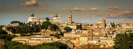 View of rome at the top of a hill. Lot of old buildings Stock Image