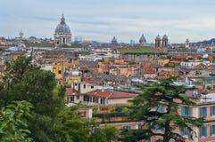 View of Rome from Villa Borghese. Rome cityscape as seen from Villa Borghese stock photos