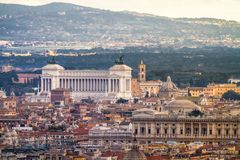 View of Rome and the VIttoriano from afar. After moody rainy weather Stock Photos