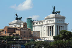 View of Rome war memorial. View from the forum of the war memorial monument in Rome. A gigantic building that screams power. It is called Vittorio Emanuele II Royalty Free Stock Images
