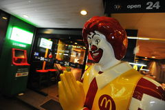 View of Ronald McDonald at the entrance of a McDonald Royalty Free Stock Images