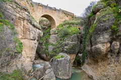 View of Ronda Bridge and canyon Royalty Free Stock Images