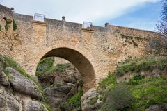 View of Ronda Bridge and canyon Stock Photo
