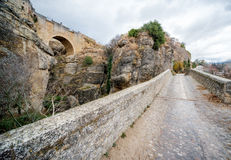 View of Ronda Bridge and canyon Royalty Free Stock Photography