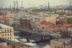 The view from the roof at the bridges and the embankment of the river Fontanka in St. Petersburg Stock Image