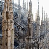 View from the roof of the Cathedral of Duomo in Milan. View from the roof of the Cathedral Royalty Free Stock Photography