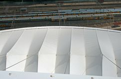 VIEW OF ROOF OF MOSES MABHIDA STADIUM ROOF AND RAIL YARD. View of roof detail of Moses Mabhida stadium in Durban Kwazulu Natal Royalty Free Stock Photos