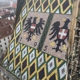 View of roof detail of Saint Stephen& x27;s Church, Vienna, Austria. Photo taken in 2016 Royalty Free Stock Photos