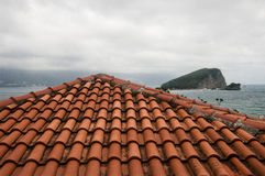 View from the roof on an island in the sea. View from the roof of an old town house on an island in the sea Stock Images