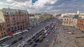 The view from the roof on Ligovsky Prospekt and Moskovsky train station timelapse. Russia. Saint-Petersburg. The view from the roof on Ligovsky Prospekt with stock video footage