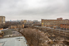 View from the roof of Mechanized Bakery No. 9 in Moscow, Russia. MOSCOW, RUSSIA - APRIL 02, 2017: View from the roof of Mechanized Bakery No. 9 in the industrial Royalty Free Stock Photos