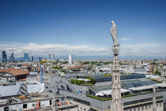 View from the roof of Milan cathedral, Duomo di Milano Royalty Free Stock Photography