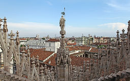 View from the roof of Milan Cathedral Duomskogo Royalty Free Stock Photo