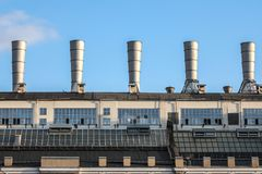 View on the roof with the tubes of thermal power station in the center of the Moscow Russia near the red square Royalty Free Stock Images