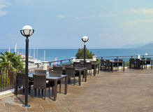 View from the roof. A restaurant. Turkey Royalty Free Stock Photography