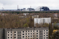 View from roof of 16-storied apartment house in Pripyat town Royalty Free Stock Photos