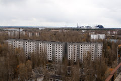 View from roof of 16-storied apartment house in Pripyat town Stock Images