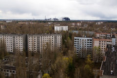 View from roof of 16-storied apartment house in Pripyat town Stock Photos