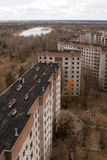 View from roof of 16-storied apartment house in Pripyat town Royalty Free Stock Photo