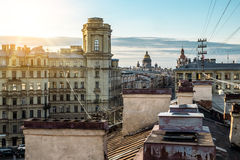 View from the roof to  St. Isaac's Cathedral in St. Petersburg Royalty Free Stock Photos