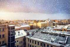 View from the roof in winter Petersburg stock photography