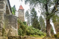View of the The Roofers Tower from the old cemetery in the castle in Old City.  Sighisoara city in Romania Royalty Free Stock Photography