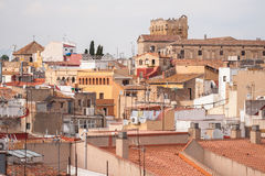 The view on the roofs of buildings in the city of Tarragona in S. Pain. Ancient buildings of Catalonia Stock Photography