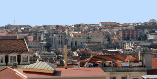 View on the roofs of the center of Lisbon city Royalty Free Stock Images