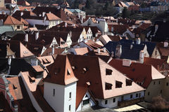 View of roofs of Cesky Krumlov town Royalty Free Stock Image