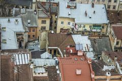 View roofs of the city. View of the city of Lviv roof, Ukraine Royalty Free Stock Images