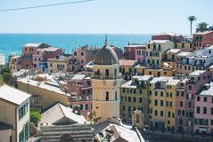 Houses of Vernazza seen from above royalty free stock photos