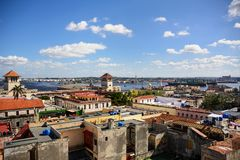 View of the roofs of Havana and the commercial port. A View of the roofs of Havana and the commercial port Stock Images