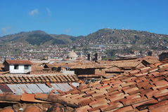View of the roofs of the houses colonial Cuzco Stock Photo