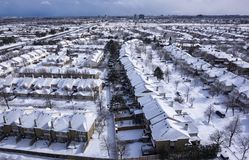View of Roofs of Houses Covered with Snow royalty free stock photography