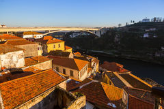 View of the roofs houses near Douro river, Porto Royalty Free Stock Photography