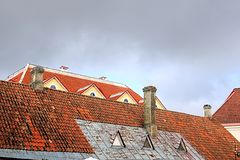 View of roofs of old buildings in Tallinn, Estonia stock image