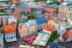 View on the roofs of old houses in old city of Riga, Latvia. Stock Photography