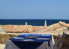 View of  the roofs old town and the Mediterranean Sea Stock Photography