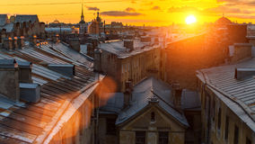 View of Roofs of the old town in St. Petersburg during beautiful sunset. Travel. Royalty Free Stock Images